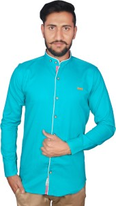 Duenite Men's Solid Casual Green Shirt