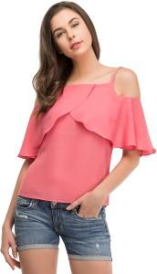 LA ATTIRE Casual Shoulder Strap Solid Women's Pink Top
