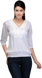 Crease & Clips Casual 3/4th Sleeve Solid Women's White Top