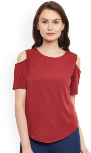 The Bebo Casual Half Sleeve Solid Women's Maroon Top