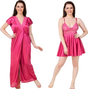 8a0b45f20c Bombshell Women s Nighty with Robe Pink Best Price in India ...