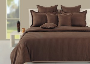 Swayam Cotton Plain Double Bedsheet1 Doble Bed Fitted Bed Sheet And 2  Pillow Covers, Brown