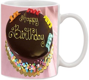 JMDPrints Personalized HAPPY BIRTHDAY CAKE Printed White Ceramic Coffee To Gift Mug