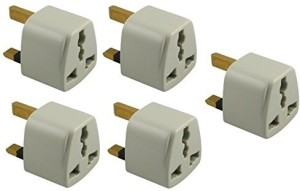 Axxel UK Universal Flat Pin 3 Pin Pack Of 5 Pcs Travel Power Plug Adapter Worldwide Adaptor