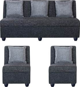 Bharat Lifestyle Delta Fabric 3 + 1 + 1 Dark Grey Sofa Set