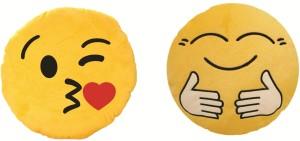Skylofts Cute Hug Me Tight, Kissing Emoji Smiley Soft Cushions Stuffed Pillow  - 38 cm