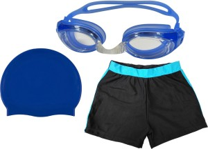Golddust Swimming Goggles, Silicone Cap with Kids Swim Shorts Swimming Kit