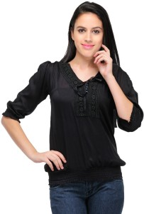 Crease & Clips Casual 3/4th Sleeve Solid Women's Black Top