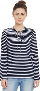 Miss Chase Casual Full Sleeve Striped Women's Dark Blue, White Top