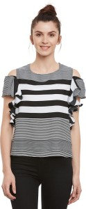Miss Chase Casual Half Sleeve Striped Women's Black, White Top