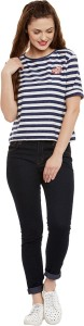 Miss Chase Casual Half Sleeve Striped Women's Blue, White Top