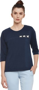 Miss Chase Casual 3/4th Sleeve Solid Women's Dark Blue Top