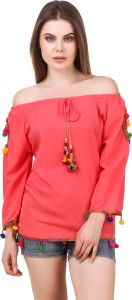 Wiser Casual 3/4th Sleeve Embroidered Women's Red Top