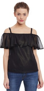 Miss Chase Party Half Sleeve Solid Women's Black Top