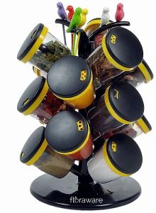 Floraware 15-Jar Cute Revolving Spice Masala Box Rack with Fruit Fork, Yellow Condiment Set