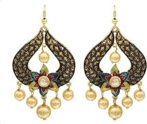 Ishita Creations Traditional High Quality Kundan And Pearl Pearl Alloy Chandbali Earring