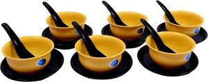 Rich Craft Hot Pie 18 Pieces Soup Set (Yellow) Microfibre Bowl Set
