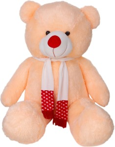 ToynJoy Giant Jumbo Size 4 Feet Ravishing Peach Teddy Bear Stuffed Toy with Muffler  - 120 cm