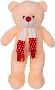 ToynJoy 3 Feet Ravishing Peach Teddy bear Stuffed Toy With Muffler  - 85 cm