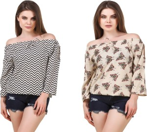 Wiser Casual 3/4th Sleeve Printed Women's White Top