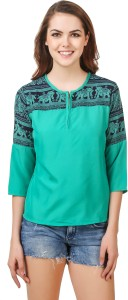 Delux Look Casual 3/4th Sleeve Printed Women's Blue Top
