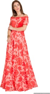 Raas Prêt Women's Fit and Flare Red, Pink Dress