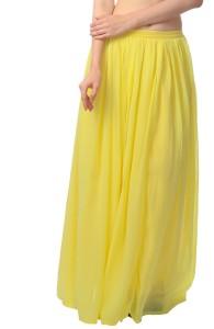scorpius Solid Women's Layered Yellow Skirt