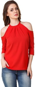 POISON IVY Casual 3/4th Sleeve Solid Women's Red Top