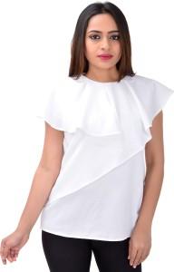 serein Formal Sleeveless Solid Women's White Top