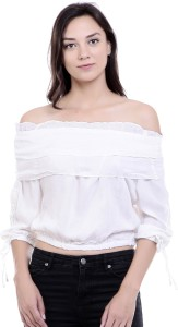 Y and C Fab Casual 3/4th Sleeve Solid Women's White Top