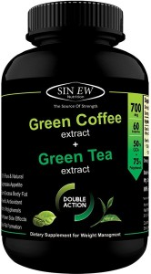 Sinew Nutrition Green Tea and Green Coffee Extract (60 Pure Veg Capsules), 100 % Pure & Natural Weight Management & Appetite Suppressant Supplement