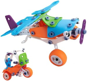 Toys Bhoomi 2 IN 1 Take-Apart 3D Model Airplane & Motorcycle Assembly Construction Building Blocks