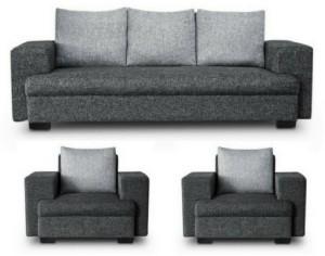 GIOTEAK classy Fabric 3 + 1 + 1 Grey Black Sofa Set