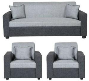 GIOTEAK classy Fabric 3 + 1 + 1 Light Grey and Grey Black Sofa Set