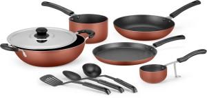 IDEALE 9 PCS NON STICK ALUMINIUM COOKWARE SET -BURNT ORANGE Cookware Set