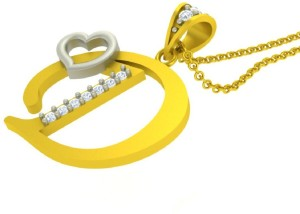 3a3bddd6a7a57 Kanak Jewels Initial Letter D With Heart With Chain Yellow Gold ...