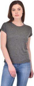 SVT ADA COLLECTIONS Casual Half Sleeve Solid Women's Grey Top