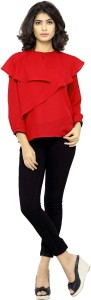 serein Party Full Sleeve Solid Women's Red Top