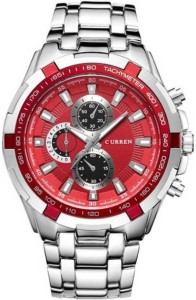 Curren 8023-Red Analog Watch  - For Men