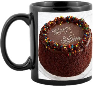 JMDPrints Personalized HAPPY BIRTHDAY CHOCOLATY CAKE Printed Black Color Coffee To Gift Ceramic Mug