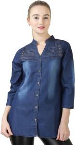 Trendyfrog Girls Self Design Casual Denim Blue Shirt