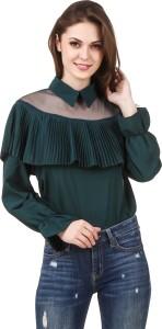 Brandmeup Party Full Sleeve Solid Women's Green Top
