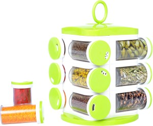 Floraware 12 Jar Revolving Spice Rack Masala Box Condiment Set