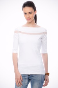 Cation Casual Short Sleeve Solid Women's White Top