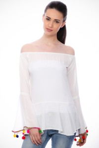 Cation Casual Full Sleeve Solid Women's White Top
