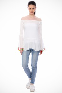 scorpius Casual Full Sleeve Solid Women's White Top