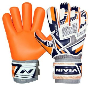 Nivia Dominator Football Gloves (L, White, Blue, Orange, Grey)