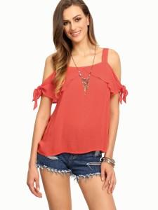 Raabta Fashion Casual Shoulder Strap Solid Women's Orange Top