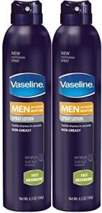 Vaseline Men Spray Lotion, Fast Absorbing , Twin Pack