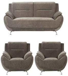 gioteak Fabric 3 + 1 + 1 Brown Sofa Set